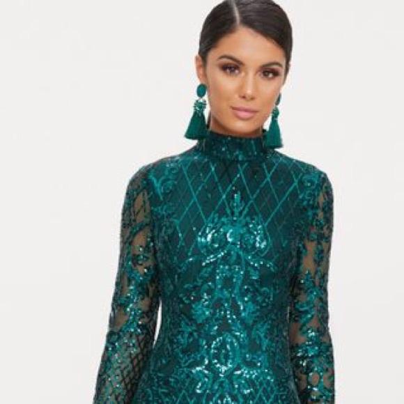 ec11450b PrettyLittleThing Dresses | Emerald Sequin Long Sleeve Dress | Poshmark